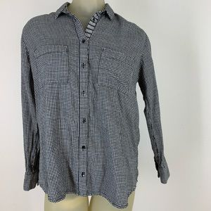 Madewell black gingham plaid button down  blouse